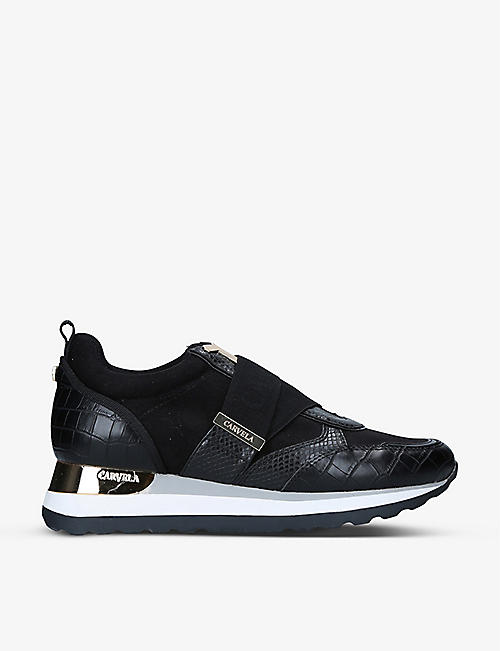 CARVELA: Jemm croc-embossed faux-leather trainers