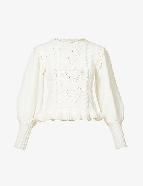 LOVESHACKFANCY: Calantha puff-sleeved knitted jumper