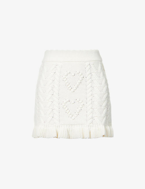 LOVESHACKFANCY: Brendana knitted mini skirt