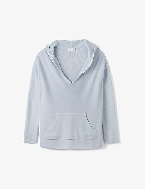 THE WHITE COMPANY: Ribbed cotton-blend knit hoody