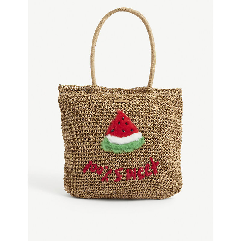 Barts Al Kids' Water Melon Embroidered Woven Tote Bag In Red