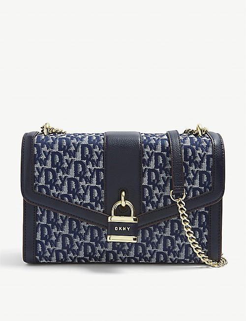 DKNY: Ella logo-design denim shoulder bag