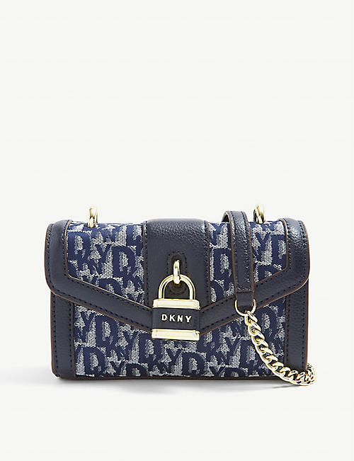DKNY: Ella logo-design denim small shoulder bag