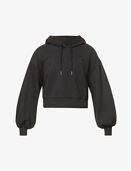 PUMA: Her embroidered-logo cotton-blend hoody