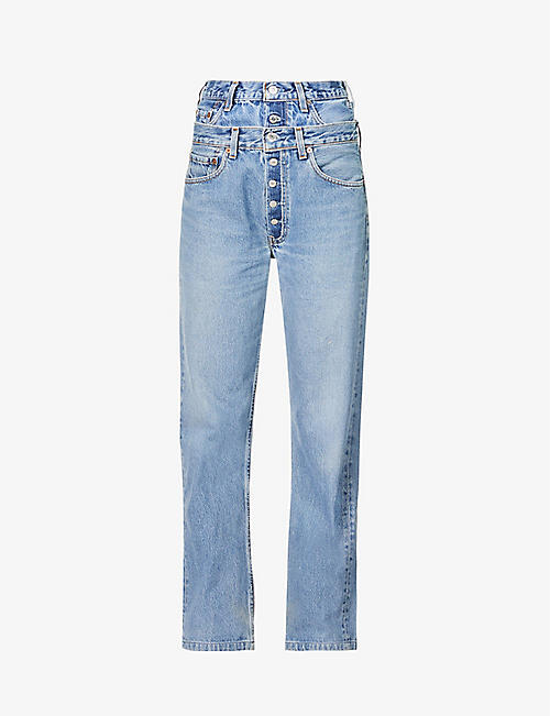 1/OFF: Upcycled double waistband wide-leg high-rise jeans