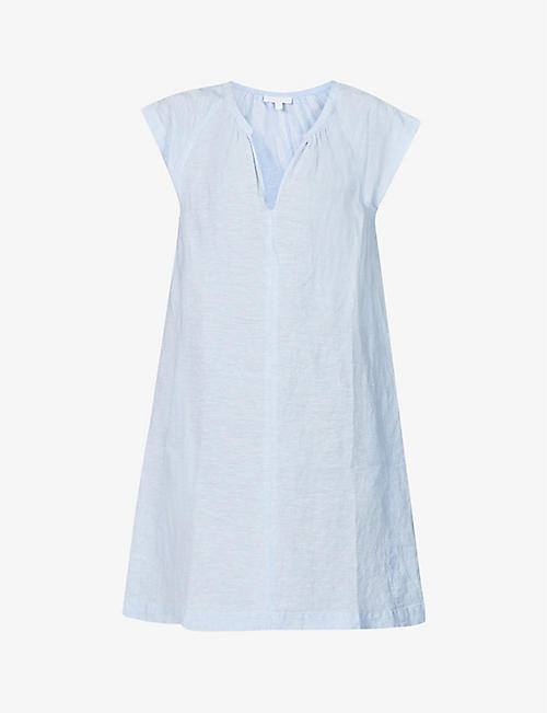 THE WHITE COMPANY: Round-neck relaxed-fit linen mini dress