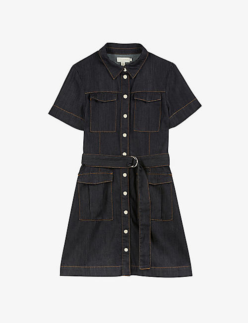 TED BAKER: Polinna buckle-detail denim mini dress