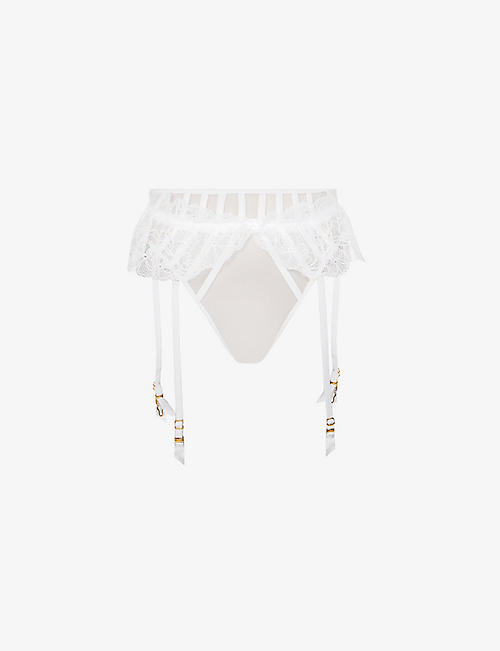 AGENT PROVOCATEUR: Rozlyn high-rise lace and mesh suspenders thong