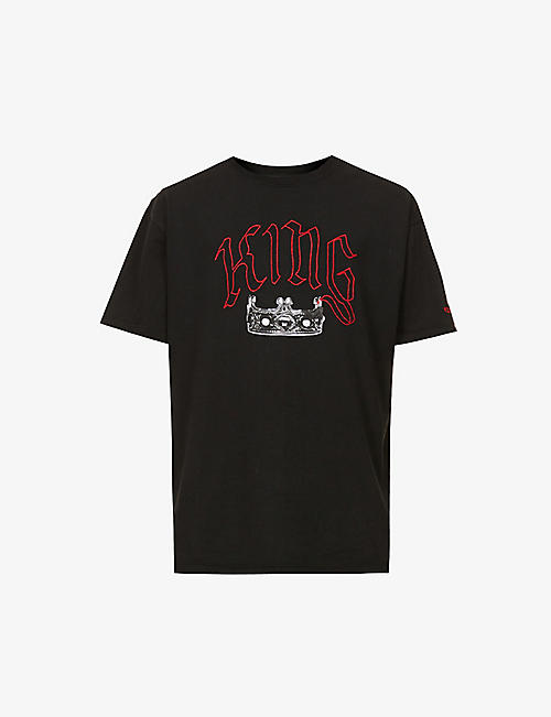 HSTRY X C2A: King graphic-embroidered cotton-jersey T-shirt