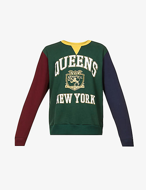HSTRY X C2A: Queens logo-embroidered cotton-jersey sweatshirt