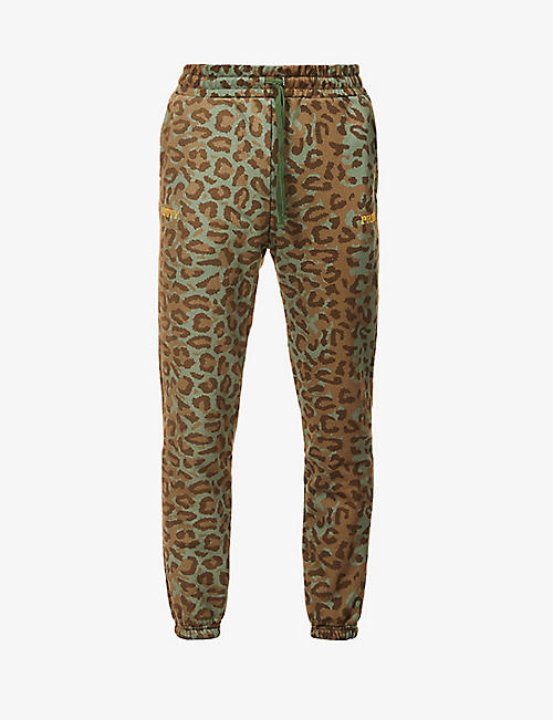 HSTRY X C2A: Unity and Pride leopard-print cotton-jersey jogging bottoms