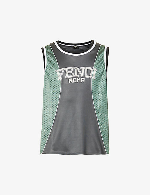 FENDI: Logo-print oversized mesh top