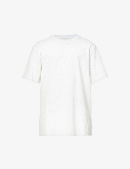 FENDI: Brand-pattern crewneck cotton-piqué T-shirt