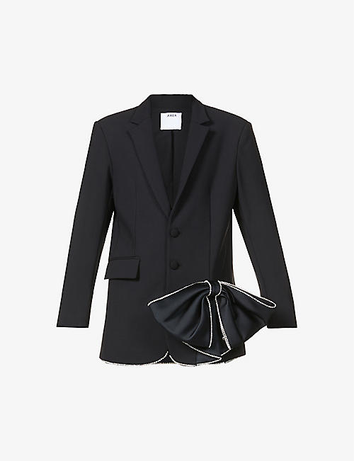 AREA: Crystal embellished-bow single-breasted stretch-woven blazer