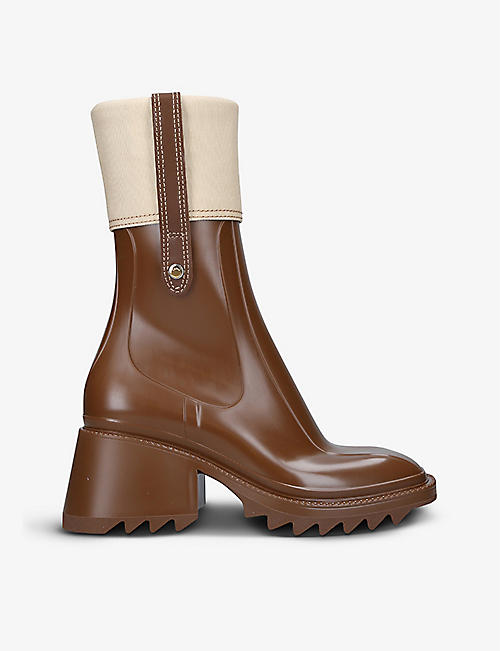 CHLOE: Betty heeled canvas and PVC rain boots