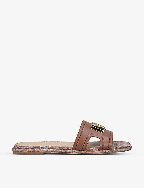 MICHAEL MICHAEL KORS: Kippy logo-embossed leather sandals