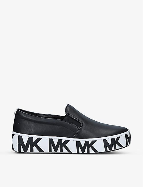 MICHAEL MICHAEL KORS: Trent logo-embossed leather low-top trainers