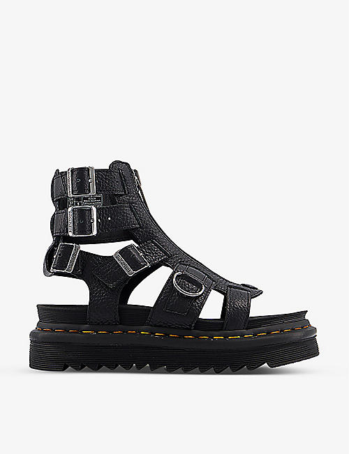 DR. MARTENS: Olson zipped pebbled-leather sandals