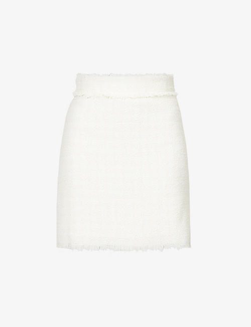 PINKO: Lirico tweed cotton-blend mini skirt