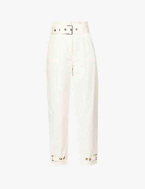 PINKO: Pippo high-rise cotton-blend trousers