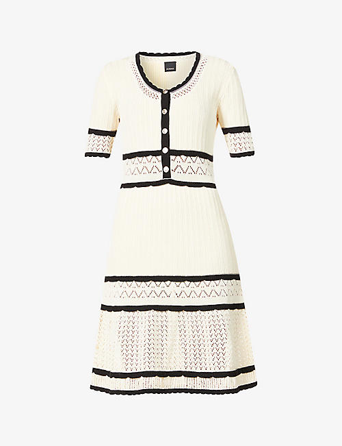PINKO: Leader cotton-blend knitted mini dress