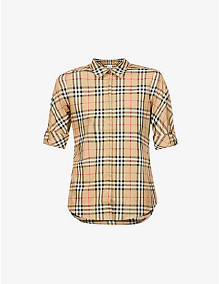 BURBERRY: Luka vintage-checked stretch-cotton shirt