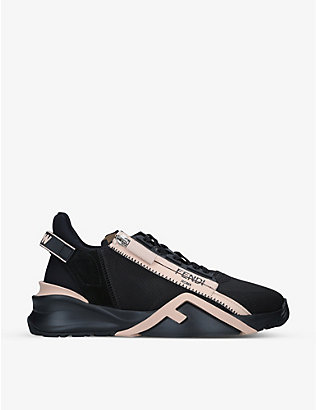 FENDI: Flow logo-print zipped leather trainers