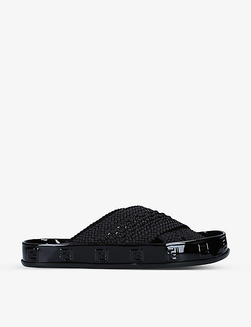 FENDI: Show logo-embellished stretch-lace and patent leather sliders
