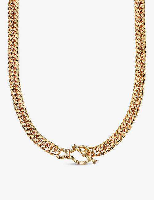 MISSOMA: Ridge 8ct yellow gold-plated brass chain T-bar necklace