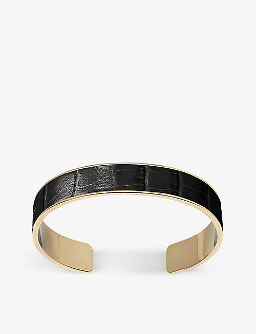 ASPINAL OF LONDON: Cleopatra crocodile-embossed leather and brass cuff bracelet
