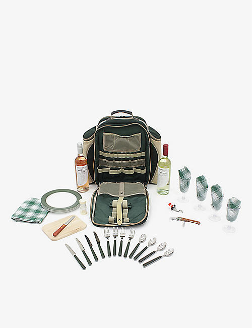 GREENFIELD COLLECTION: Woven picnic backpack hamper for four people
