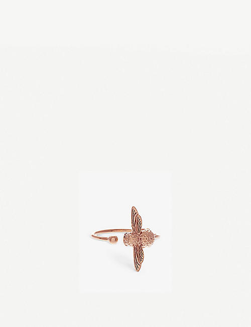 OLIVIA BURTON: Bee rose gold-plated sterling silver ring