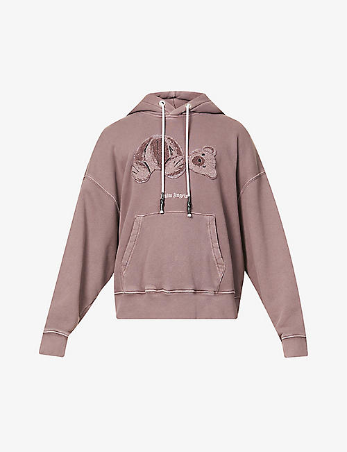 PALM ANGELS: Bear-print faded cotton-jersey hoody