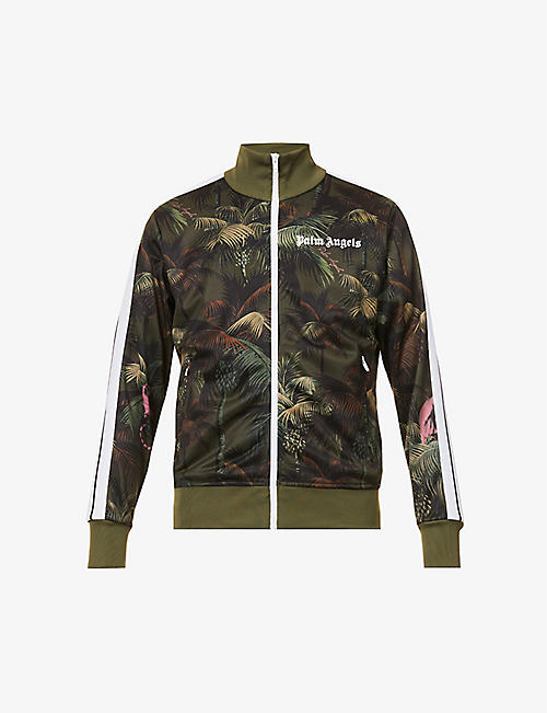 PALM ANGELS: Jungle-print jersey tracksuit jacket