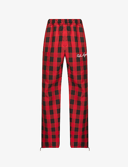 PALM ANGELS: Buffalo check relaxed-fit shell trousers