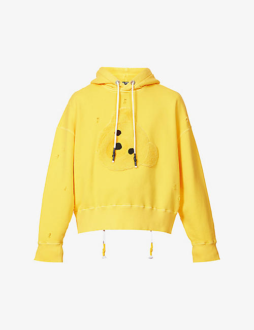 PALM ANGELS: Textured-bear cotton-jersey hoody
