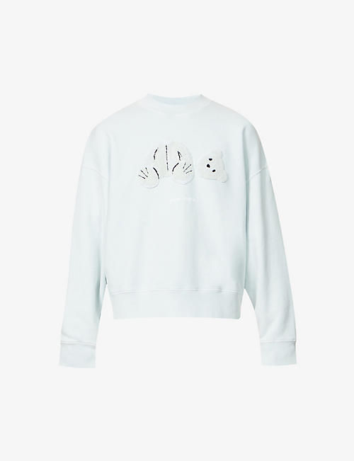 PALM ANGELS: Textured-bear cotton-jersey sweatshirt