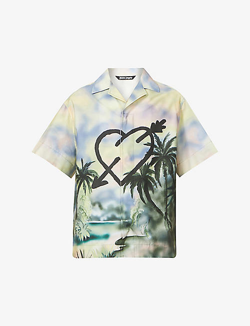PALM ANGELS: Paradise printed relaxed-fit cotton shirt