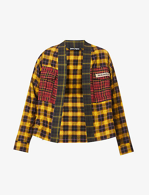 PALM ANGELS: Patchwork checked stretch-cotton shirt