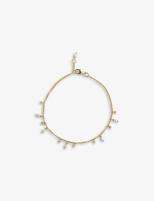 ANNA + NINA: Cosmic Dust 14ct yellow gold-plated sterling silver and freshwater pearl bracelet