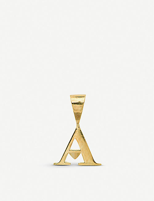 ANNA + NINA: A Initial 14ct yellow-gold single necklace charm