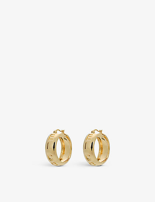 ANNA + NINA: El Corazón 14ct yellow gold-plated brass earrings