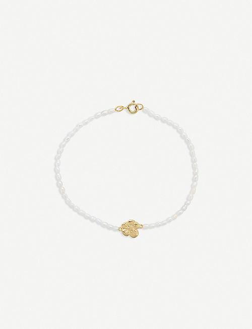 ANNA + NINA: Soul Flower pearl and 14ct yellow gold-plated sterling silver bracelet