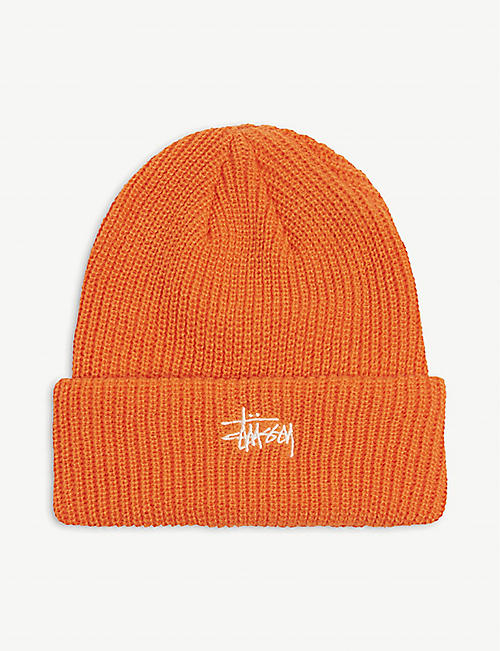 STUSSY: Basic Cuff logo-embroidered knitted beanie hat
