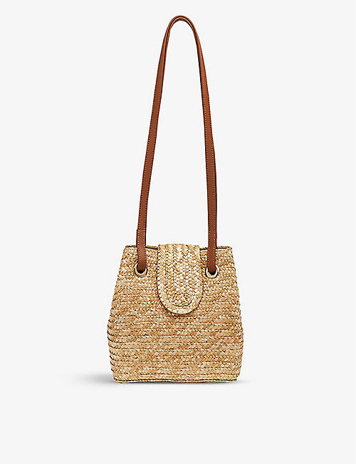 WHISTLES: Winslow leather and straw shoulder bag