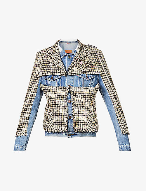 1/OFF: Upcycled contrast-panel denim and tweed jacket