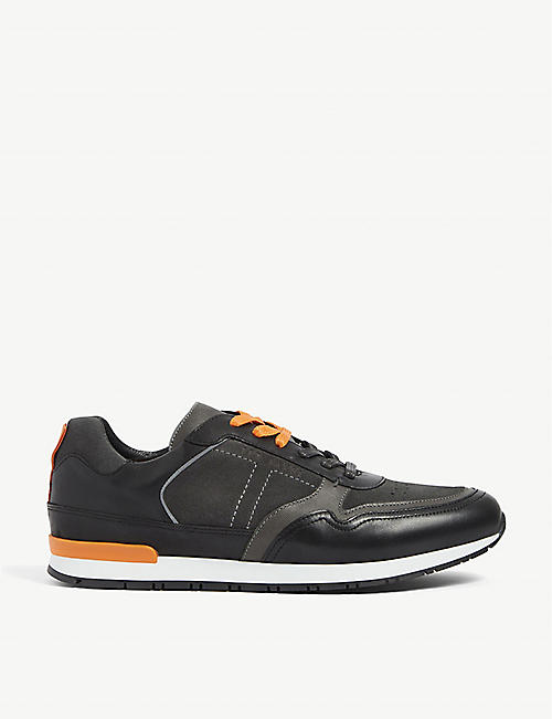 TED BAKER: Flowem panelled leather trainers