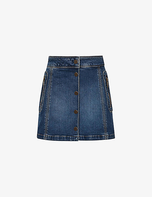 REISS: Kayleigh button-up recycled stretch-denim mini skirt