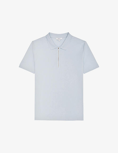 REISS: Jude zipped cotton-pique polo shirt