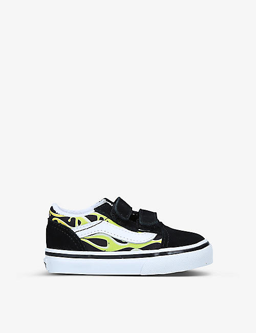 VANS: Slime Flame Old Skool suede and canvas trainers 1-4 years